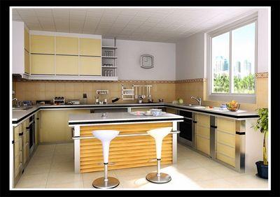طرح 3 بعدی آشپزخانه با نقشه ها