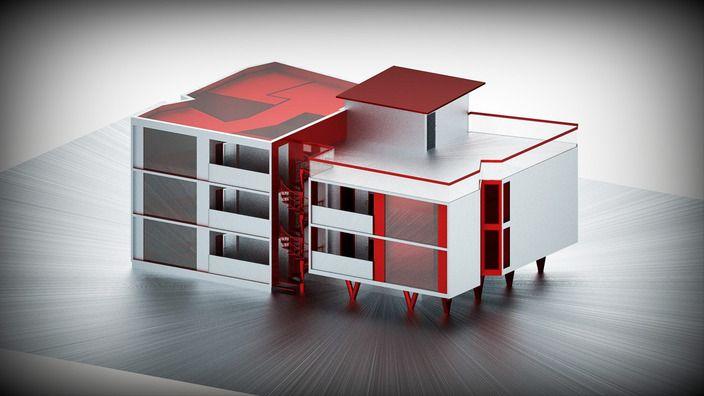 طرح 3 بعدی ساختمان فایل اسکچاپ