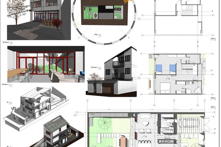 طرح 3 بعدی خانه 8*30 متر(sketch up-AUTOCAD3D)