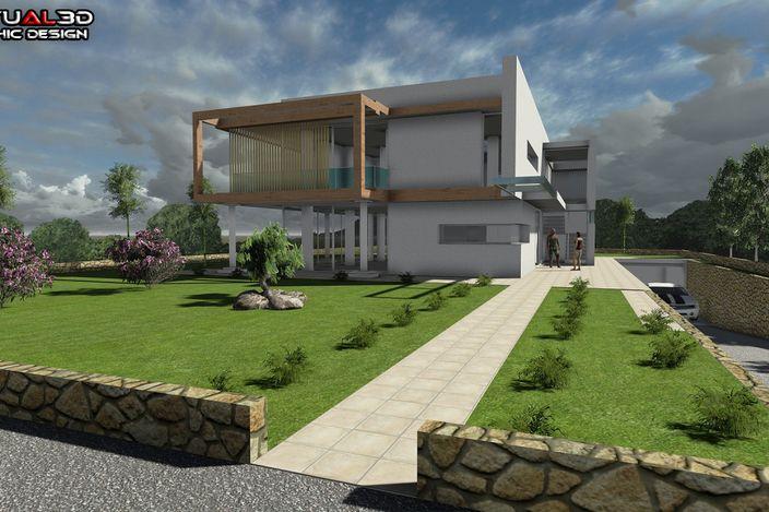 مدل 3 بعدی خانه ویلایی کار شده با اسکچاپ
