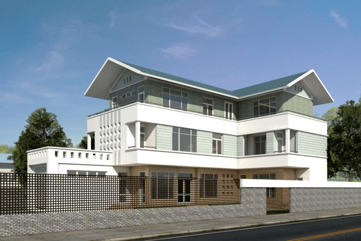 نمای 3 بعدی خانه ی ویلایی به همراه پلان ها (SKETCHUP)