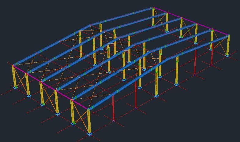 طرح سه بعدی از اجرای سازه فلزی