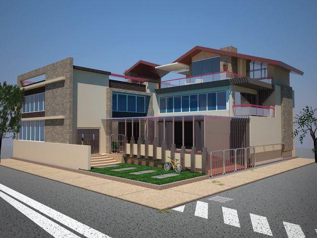 مدل 3 بعدی خانه مدرن SKP