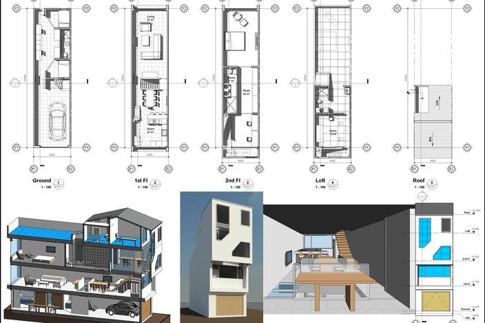طرح 3 بعدی خانه 4*15 متری