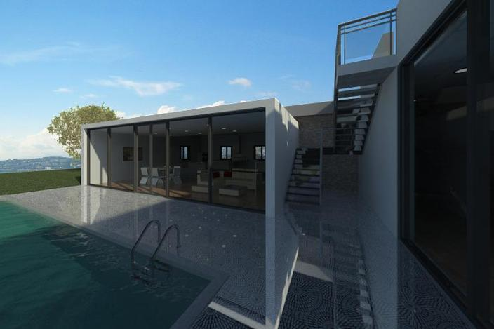 طرح کامل خانه ویلایی با استخر نرم افزار رویت