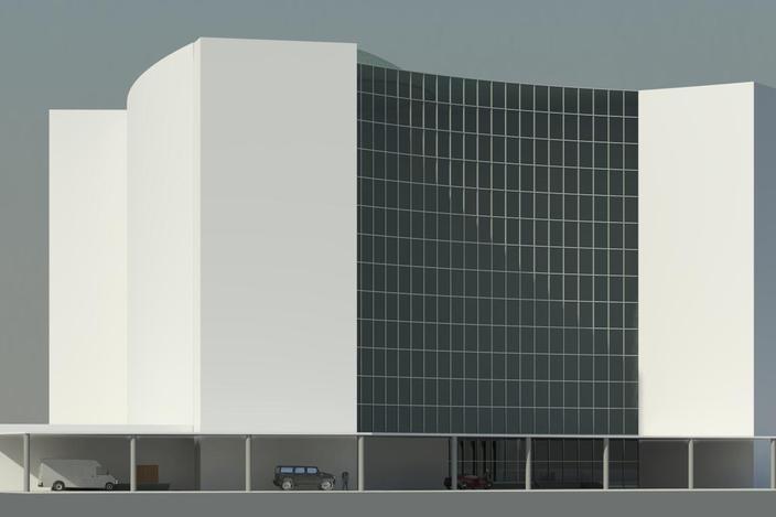 مدل 3 بعدی هتل مجهز به استخر (revit)