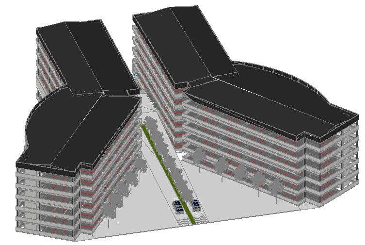 مدل 3 بعدی سازه پارکینگ 6طبقه
