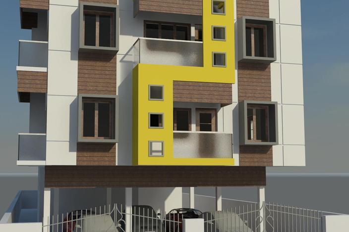 دانلود نمای خارجی ساختمان مسکونی (revit)