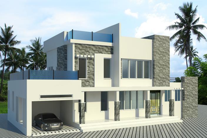 نمای 3 بعدی خارجی ساختمان (revit)