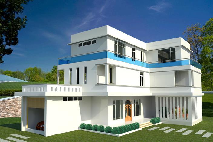 نمای بیرونی خانه ی ویلایی چند طبقه(revit)