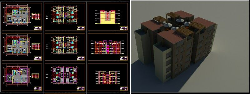 پروژه کامل پلان های ساختمان 16 واحدی به همراه نمای سه بعدی