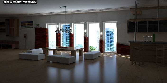 طرح اتاق نشیمن کار شده با اسکچاپ
