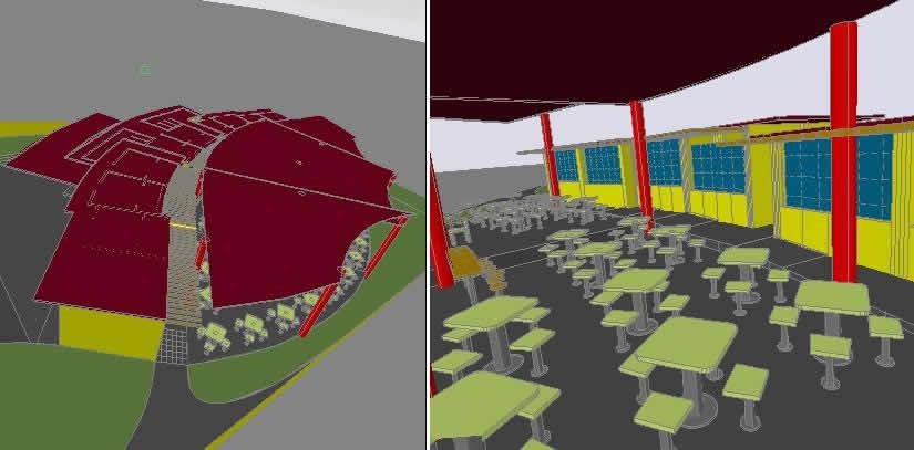 پروژه محل غذاخوری در محوطه استادیوم Aucas در اکوادور - سه بعدی
