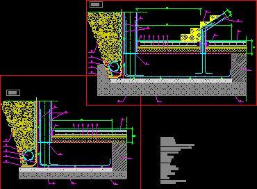 پلان جزئیات سازه ای مقطع فونداسیون دیوار حایل