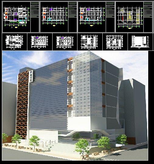 پروژه کامل ساختمان اداری - 2 بعدی و 3 بعدی