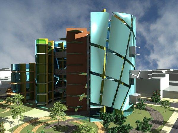 پروژه مدل سه بعدی از یک ساختمان اداری- 3DS