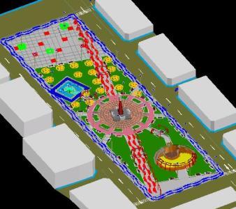 طرح سه بعدی مرکز شهر دارای فضای سبز