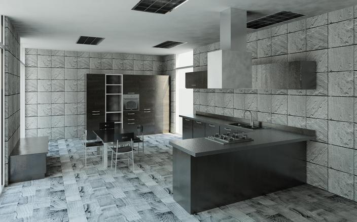 طرح آشپزخانه کارشده با رویت