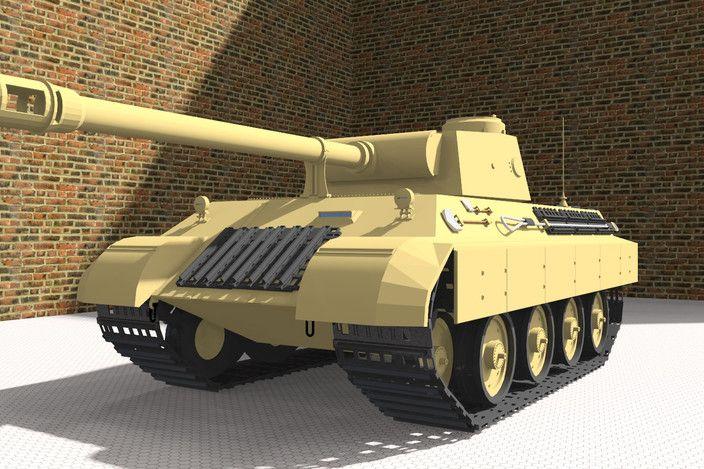 مدل 3 بعدی تانک کارشده با اسکچاپ