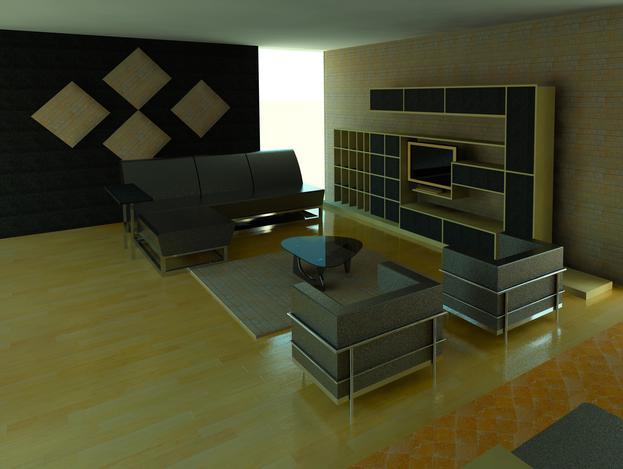اتاق نشیمن کار شده با revit