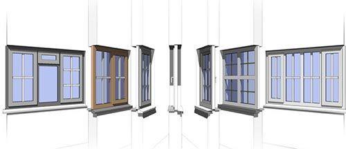 مجموعه مدل 3 بعدی پنجره برای revit