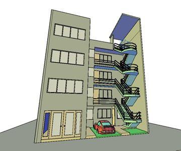 پروژه طرح سه بعدی ساختمان 4 طبقه به ابعاد 10.50 * 20M