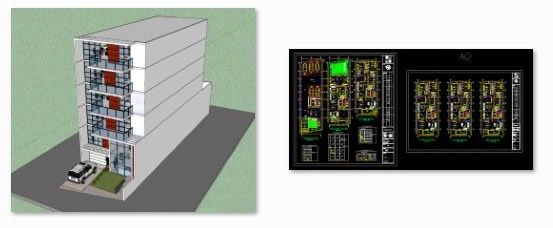 روژه کامل ساختمان 5 طبقه - طرح های 2 بعدی  و3 بعدی